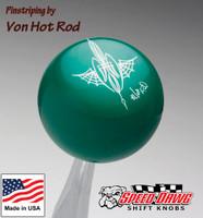 Green Pinstriped Spider Web Shift Knob by Von Hot Rod
