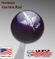 Purple Pinstriped Spider Web Shift Knob by Von Hot Rod