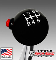 Pro Black / White 6 Speed Shift Knob with Line Lock / NOS Button