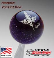 Transparent Purple Metalflake Pinstriped Spider Web Shift Knob by Von Hot Rod