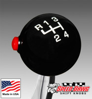 Pro Black / White 4 Speed Shift Knob with Line Lock / NOS Button