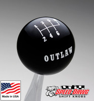 Outlaw Black 6 Speed Shift Knob Reverse Upper Right