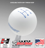 Hurst White w Blue 5 Speed Shift Knob - Large