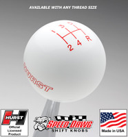 Hurst White w Red 5 Speed Shift Knob - Large
