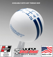 Hurst White / Dark Blue 5 Speed Rally Stripe Shift Knob