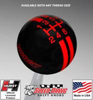 Hurst Black / Red 6 Speed Rally Stripe Shift Knob