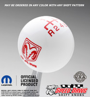 Dodge Ram White shift knob with Red graphics