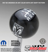 Dodge Ram Black Pearl shift knob with White graphics