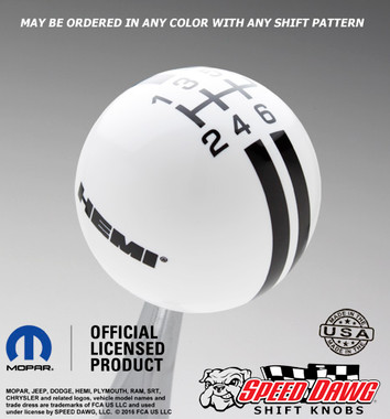 Hemi Logo Rally Stripe Shift Knob White with Black graphics