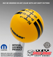 Hemi Logo Rally Stripe Shift Knob Yellow with Black graphics
