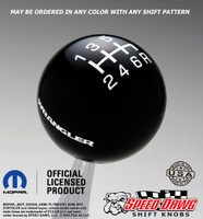 Black Wrangler Logo Shift Knob with White graphics