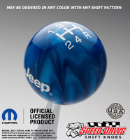 Blue Pearl Jeep Logo Shift Knob With White Graphics