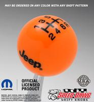 Neon Orange Jeep Logo Shift Knob With Black Graphics