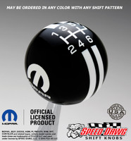 Black Mopar Logo Rally Stripe Shift Knob with White Graphics