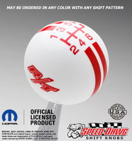 White R/T Logo Rally Stripe Shift Knob with Red Graphics