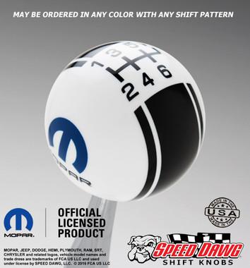 Mopar Logo Racing Stripe Shift Knob with Pattern
