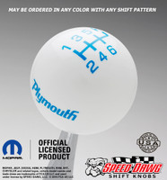 Plymouth Logo Shift Knob White with Grabber Blue graphics