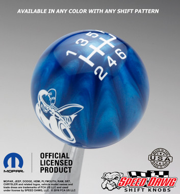 Scat Pack Shift Knob Blue Pearl with White graphics