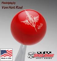 Red Pinstriped Spider Web Shift Knob by Von Hot Rod