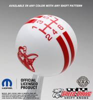 Scat Pack White knob with Red graphics