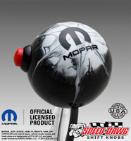 Mopar Logo Black White Splash Shift Knob with Line Lock / NOS Button