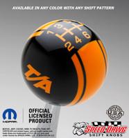 Black T/A Logo shift knob with Grabber Orange graphics