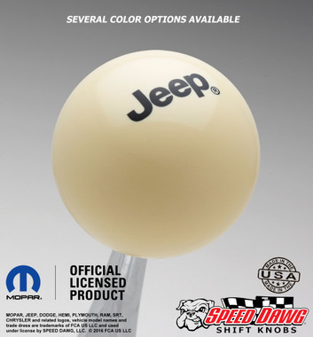 Jeep Logo Shift Knob Ivory with Black graphics