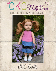 Coraleigh's Reversible Pinafore and Harleigh's Scalloped Capris and Pants Doll Sizes PDF Pattern
