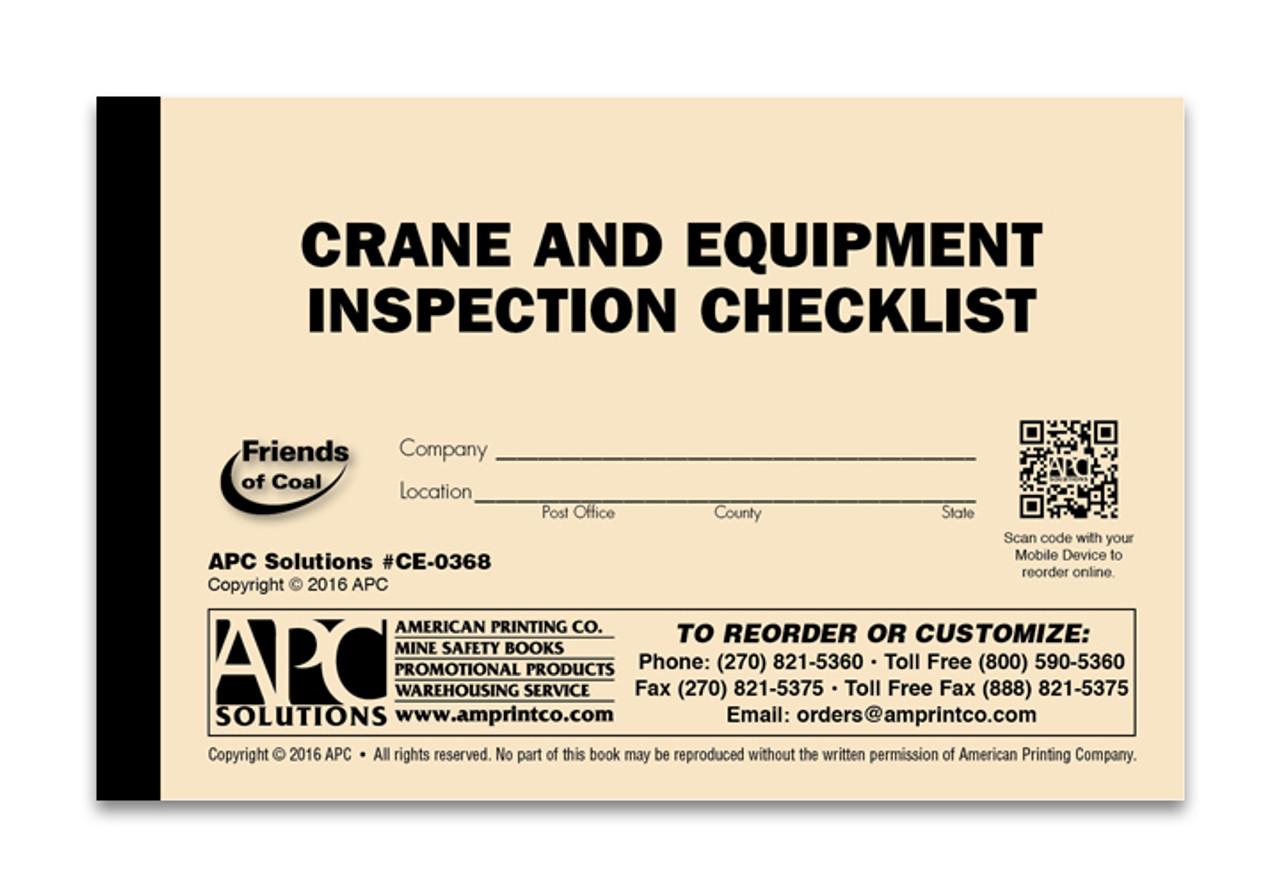 Mobile Crane – Equipment Checklist