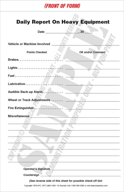 Heavy Equipment Daily Report | Inspection Checklist | Service ...
