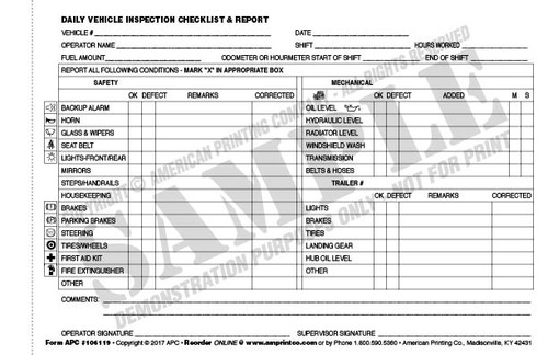 ... APC 106119: Daily Vehicle Inspection Checklist U0026 Report