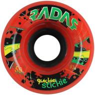 Quad Skate Wheel Radar Quickie Stickie Red 59mm x 42mm 93a