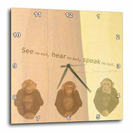 3DROSE Dpp 55721 3 See No Evil Monkees Animal Art Sayings Wall Clock 1 - DD651685