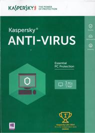Kaspersky Anti-Virus 2016 3 PCS 1 Year Key Card Software Antivirus - DD652687