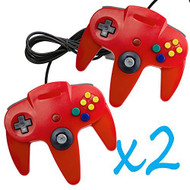 2 PCS Long Controller Game System For Nintendo 64 Red For N64 Made in - ZZ660520