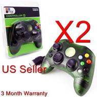 2 Lot Green Controller Control Pad For Original Microsoft Xbox X Box - ZZ663532