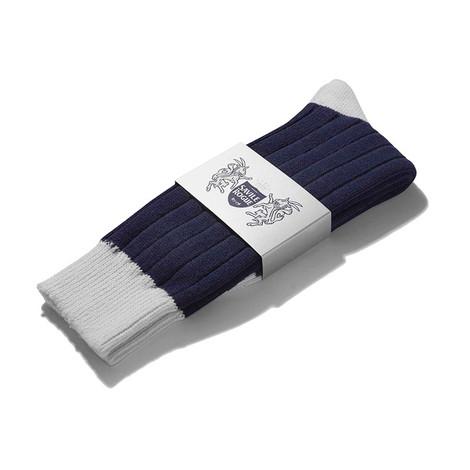 Football Style Ankle Socks (Navy/White)