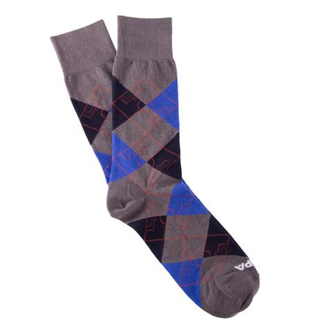 Copa Argyle Pitch Socks (Grey/Navy/Blue)