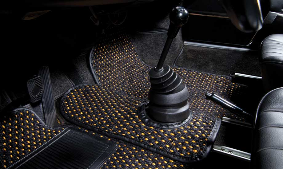 Cocomats.com Coco Mats car mats Color Black and Gold Number 52 in a Porsche 911