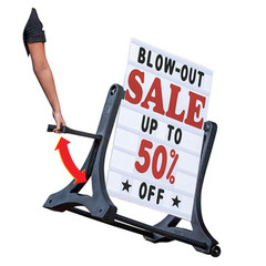 Deluxe White Rolling Sidewalk Sign