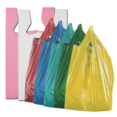 Solid color shopping bags. T-shirt style. All purpose for grocery, convenience, and retail merchandise.