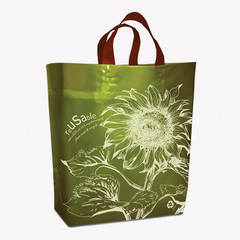 Reusable Grocery Bag with Sunflower Print