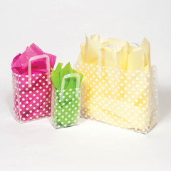 White Dot Frosted Shopping Bags