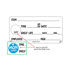 Shelf life labels shown with 3/4 inch day stickers 816885