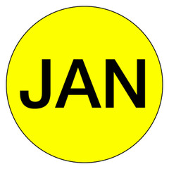 "1"" Month of Year Circle Labels- Jan"