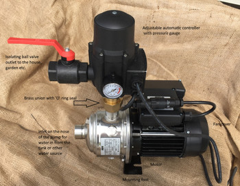 MH series automatic pressure pump with controller, pressure gauge and isolating outlet valve.
