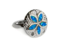 San dollar, blue, silver Opal, Ring  STERLING SILVER, SANDOLLAR, San dollar, blue, silver Opal, Ring
