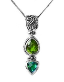 peridot, quartz, sterling silver, gemstone, siesta key, pendant, necklace