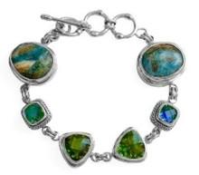 peridot, jasper, silver, bracelet, link, green, blue, gemstone,sterling, siesta key watercolor