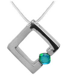 pendant, sterling silver necklace, gemstone, green, square, siesta key